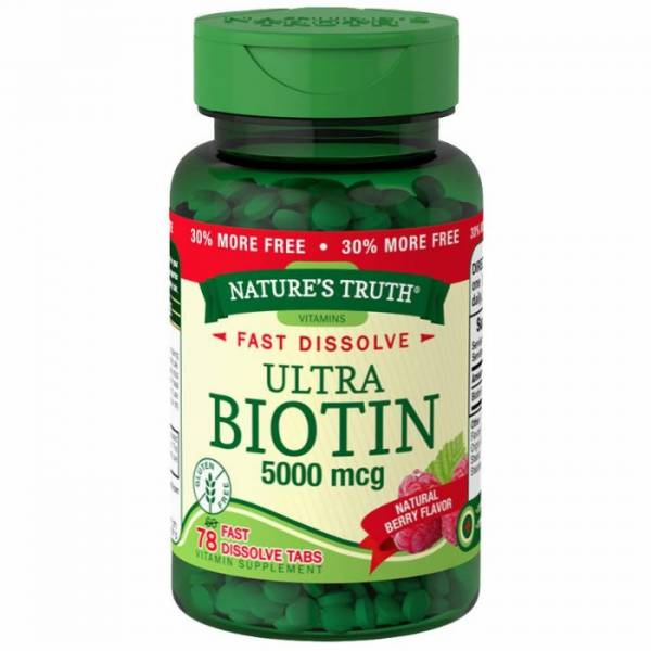 Nature's Truth Biotin 5000 Mcg, Fast Dissolve Tabs, Natural Berry Flavor, 78 Count